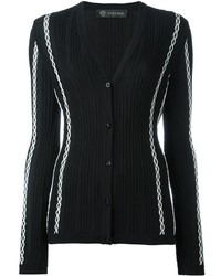 Versace Ribbed Stitch Detail Cardigan