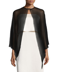 Halston Heritage Cape Sleeve Silk Georgette Coverup