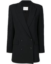 Black Silk Double Breasted Blazer