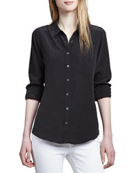 Equipment Brett Button Up Blouse Black
