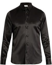 Button cuff silk satin shirt medium 876818