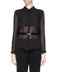 Armani Collezioni Cape Back Belted Silk Blouse