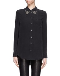 Nobrand Reese Jewel Collar Silk Shirt