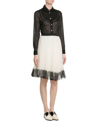 RED Valentino Silk Blouse With Lace Trim