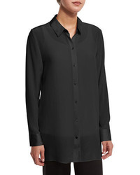 Silk crepe tunic w major high low hem medium 1158558