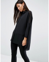 ASOS DESIGN Soft Long Sleeve Shirt In Sheer And Solid