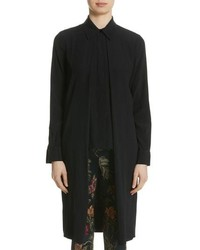 Rosetta Getty Split Front Stretch Silk Shirt