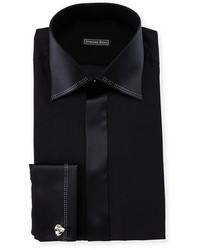 Stefano Ricci Crystal Trim Silk French Cuff Tuxedo Shirt