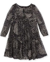 Burberry Rosehip Multipattern Tiered Silk Dress Black Size 4 14