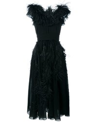 Salvatore Ferragamo Ostrich Feather Detail Dress