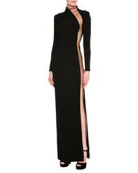 Illusion panel silk long sleeve gown black medium 5262109