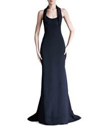 Silk crepe and satin halter gown medium 128530
