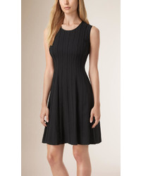 Burberry Lambskin Trim Fit And Flare Silk Dress