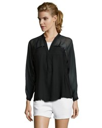 Chelsea Flower Black Silk Chiffon Long Sleeve Blouse