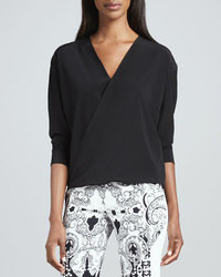 Etro Faux Wrap Silk Blouse Black