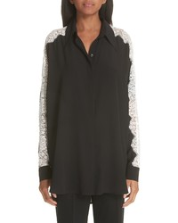 Stella McCartney Lace Sleeve Silk Blouse