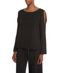 Lafayette 148 New York Maxina Cold Shoulder Silk Blouse Black