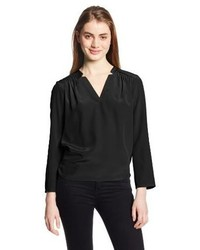 Amanda Uprichard Simon Silk Long Sleeve V Neck Blouse