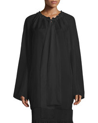 The Row Spira Long Sleeve Ruched Neck Silk Blouse Black