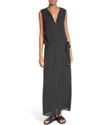 Vince Split Neck Belted Maxi Dress