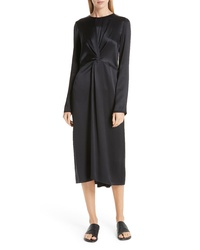 Vince Front And Back Twist Silk Dress
