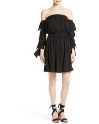Black Silk Off Shoulder Dress