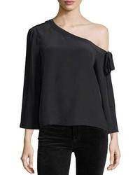 Robert Rodriguez Off The Shoulder Long Sleeve Silk Blouse