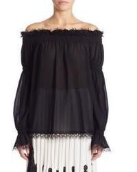 Oscar de la Renta Off The Shoulder Silk Blouse