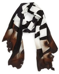 Moschino Burn Logo Silk Scarf