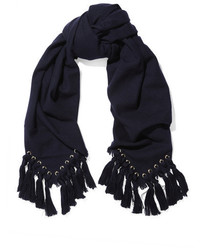 Chloé Eyelet Embellished Wool Silk And Cashmere Blend Scarf Midnight Blue
