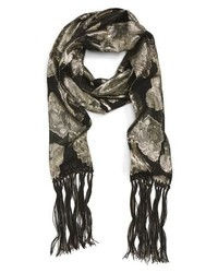 Saint Laurent Fringe Chain Silk Skinny Scarf