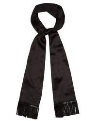 Saint Laurent Fringed Silk Georgette Scarf
