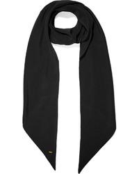 Saint Laurent Silk Crepe De Chine Scarf Black