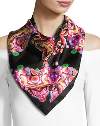 Givenchy Square Silk Twill Kaleidoscope Scarf Blackmulticolor