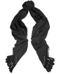 Chloé Tasseled Silk And Wool Blend Scarf Black