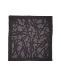 Saint Laurent Ysl Random Square Silk Wool Gauze Scarf