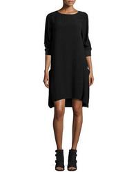 Eileen Fisher 34 Sleeve Silk Georgette Shift Dress W Pockets Petite