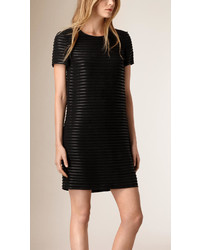 Burberry Lambskin And Raw Silk Shift Dress