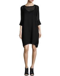Eileen Fisher Silk Georgette Round Neck Shift Dress