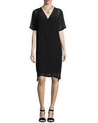 Silk georgette v neck shift dress black medium 3760104