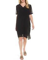Eileen Fisher Silk V Neck Shift Dress