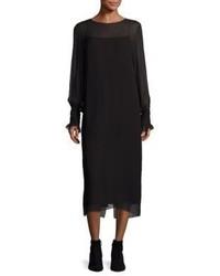 The Row Maver Silk Smocked Shift Dress