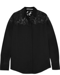 Stella McCartney Frederika Lace Paneled Silk Crepe De Chine Shirt Black