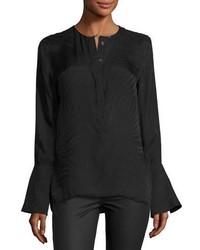 Equipment Kenley Bell Sleeve Silk Shirt Black