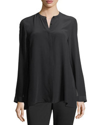 Eileen Fisher Long Sleeve Silk Crepe De Chine Boyfriend Shirt