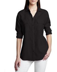 Go Silk Safari Long Sleeve Silk Shirt Petite