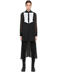 Karl Lagerfeld Sheer Silk Shirt W Long Back