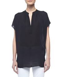 Cap sleeve silk popover blouse black medium 87493