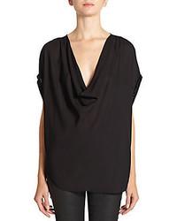 Haute hippie embellished cowlneck silk blouse medium 57045