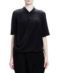Short sleeve crepe de chine silk top black medium 57046